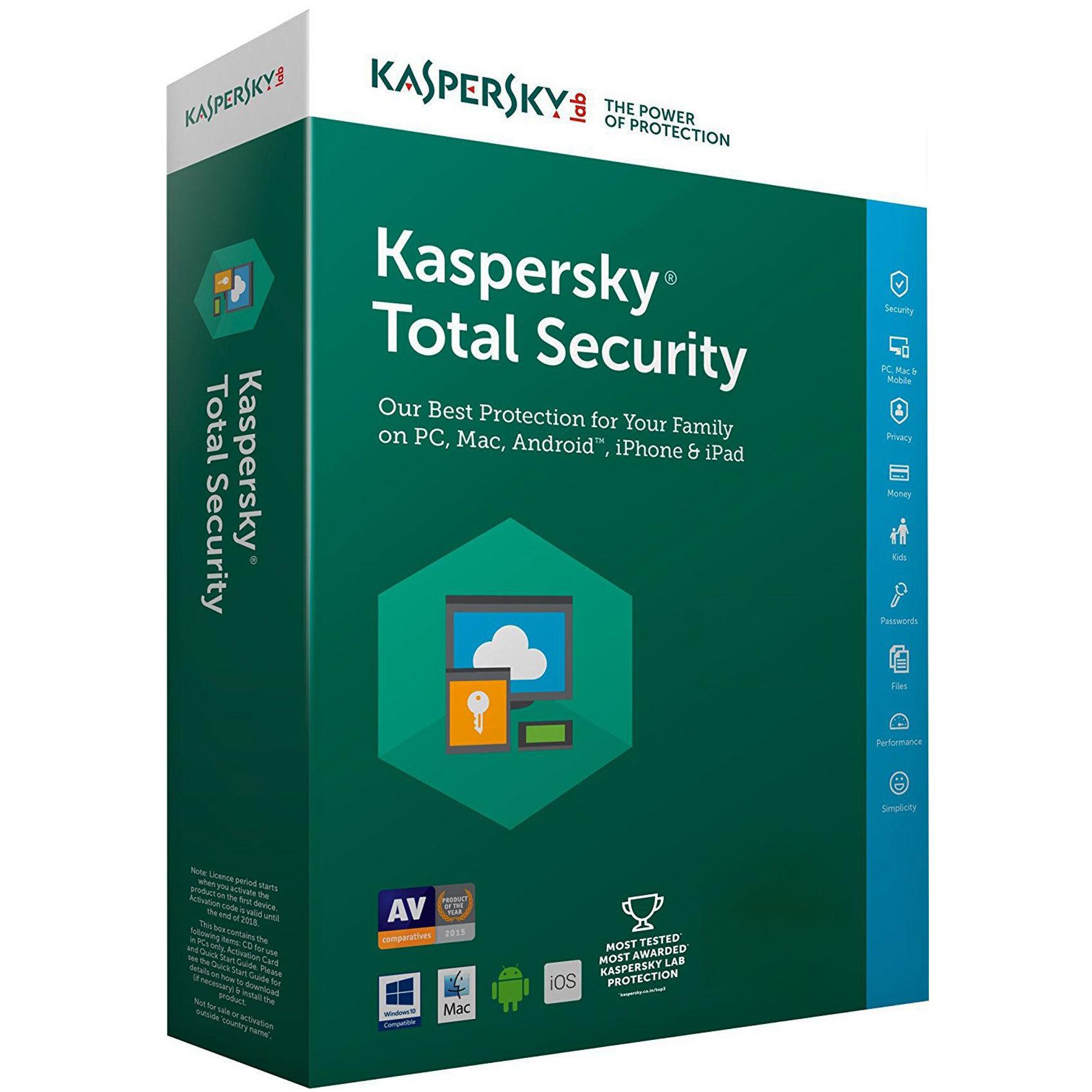 Antivirus Kaspersky Total Security 5 Dispositivos Por 2 Años