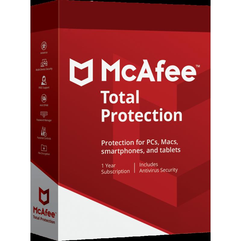 Antivirus McAfee Total Protection 10 Dispositivos por 1 año